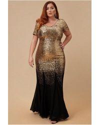 Goddiva Plus Sequin & Chiffon Maxi Dress - Multicolour