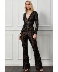 Goddiva Embroidered Sequin & Mesh Jumpsuit - Black
