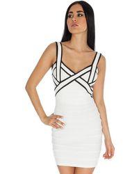 Goddiva Monochrome Bodycon Dress - White