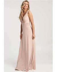 Revie London Lana Maxi Dress In Soft Peach - Pink