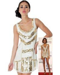Goddiva Gold Gilded Flapper Dress - Multicolour