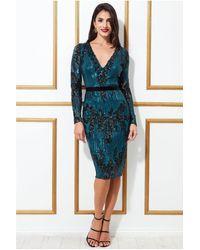 Goddiva Long Sleeve Sequin Party Midi Dress - Blue