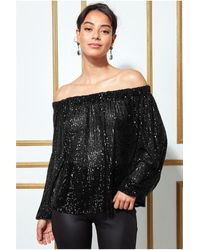 Goddiva Bardot Sequin Crop Top With Cuffed Sleeves - Black