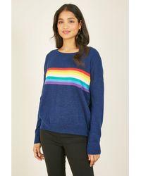 Yumi' Rainbow Stripe Knitted Jumper - Blue