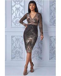 Goddiva Scalloped Hem Starburst Midi Dress - Multicolor