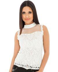 Goddiva Pearl And Diamante High Neck Lace Top - White