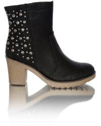 Goddiva Studded Mid Heel Boots - Black