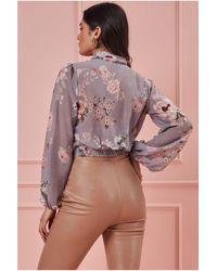 Goddiva Wrap Style Long Sleeve Floral Top - Multicolour