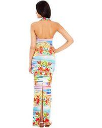 Goddiva Printed Halter Neck Maxi Dress* - Multicolor