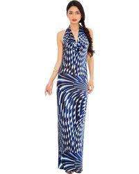 Goddiva Printed Halter Neck Maxi Dress* - Blue