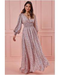 Goddiva Long Sleeve Floral Maxi Shirred Waistband - Pink