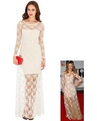 Goddiva Timeless Lace Maxi Dress In The Style Of Kimberley Walsh - Multicolor