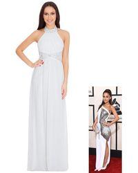 Goddiva Halter Neck Embellished Chiffon Maxi Dress With Scarf - Multicolour