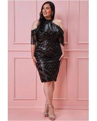 Goddiva Plus Fringe Collar Sequin Midi Dress - Black