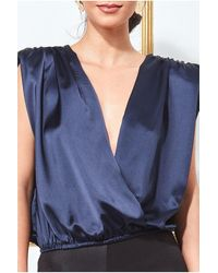 Goddiva Satin Wrap Style Top With Shoulder Pad - Blue