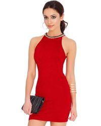 Goddiva Halter Neck Bodycon Mini Party Dress - Red