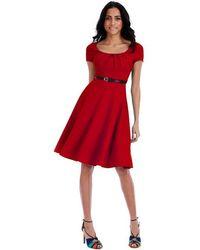 Goddiva Short Sleeved Midi Skirt Dress With Belt - Red
