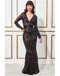 Goddiva Embroidered Sequin & Mesh Maxi Dress - Black