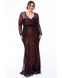 Goddiva Plus Spread On Sequin Maxi With V Neck Dress - Multicolor