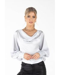 Zibi London Lula Cowl Neck Going Out Top - Metallic