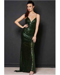 "Revie London Emerald Sequin Maxi Dress ""jayne"" - Green"