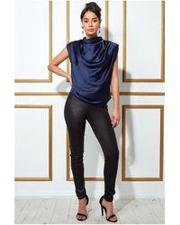 Goddiva High Collar Satin Top With Shoulder Pads - Blue