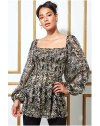 Goddiva Foil Print Shirred Body Long Top With Sleeves - Multicolour