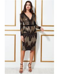 Goddiva Long Sleeve Sequin Party Midi Dress - Black