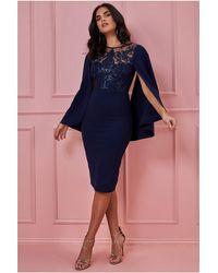 Goddiva Sequin & Lace Angel Midi Dress - Blue