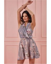 Goddiva Wrap Style Sleeveless Floral Midi Dress - Multicolour