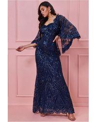 Goddiva Lace Angel Wing Shoulder Maxi Dress - Blue
