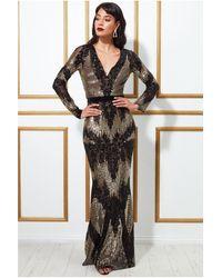 Goddiva Long Sleeve Sequin Evening Maxi Dress - Multicolour