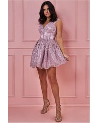 Goddiva Lace Back Mini Skater Dress - Multicolour