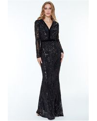 Goddiva Deep V Neck Sequin Embroidered Maxi Dress – - Black