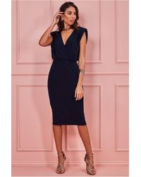 Goddiva Wrap Style Bodycon Midi Dress - Blue