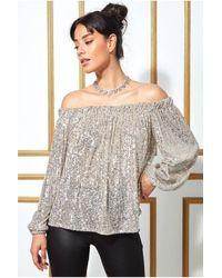 Goddiva Bardot Sequin Crop Top With Cuffed Sleeves - Multicolour