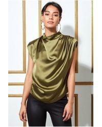 Goddiva High Collar Satin Top With Shoulder Pads - Green