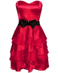 Goddiva Waterfall Satin Dress With Contrast Waistband - Red