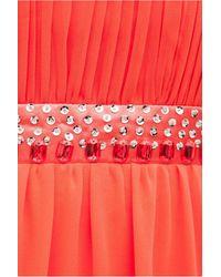 Goddiva Halter Neck Embellished Maxi Dress - Red