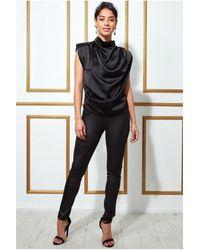 Goddiva High Collar Satin Top With Shoulder Pads - Black