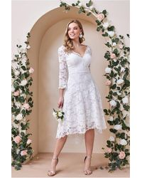 Goddiva High Low Lace Midi Wedding Dress - Multicolour
