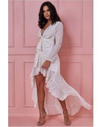 Goddiva High Low Star Print Maxi Dress With Ruffle Detail - Pink