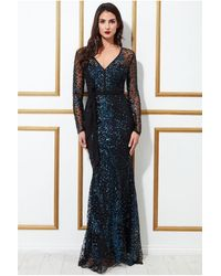 Goddiva Spread On Sequin Maxi With V Neck Dress - Blue