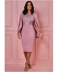 Goddiva Sequin & Lace Angel Midi Dress - Pink