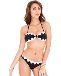 Goddiva Zig Zag Bandeux Bikini - Black