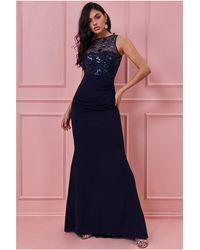 Goddiva Sequin And Mesh Bodice Maxi Evening Dress - Blue