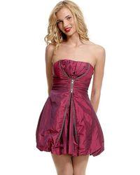 Goddiva Metal Zip Taffeta Dress - Red