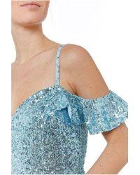 Goddiva Flutter Sleeve Sequin & Chiffon Maxi Dress - Blue