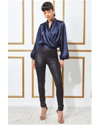Goddiva Satin Wrap Style Sleeveless Crop Top - Blue