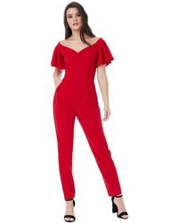 Goddiva Off The Shoulder Jumpsuit With Ruffle Sleeves - Red